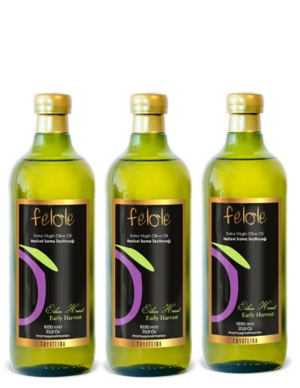 3 Pieces of Early Harvest Cold Press 1 Lt Felole Extra Virgin Olive Oil